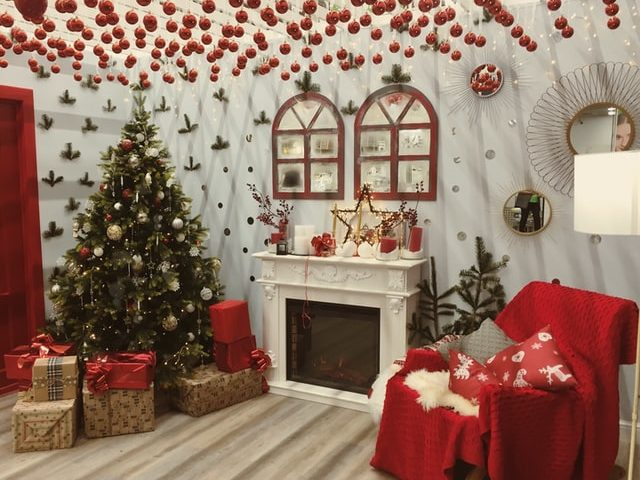 Lounge Decorated for Christmas