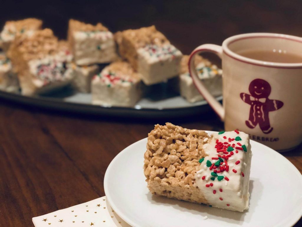 Brown Butter, Cinnamon Rice Krispie Squares with a Christmas Sprinkle!