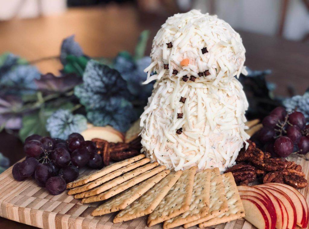 Jolly Festive Snowman Cheeseball