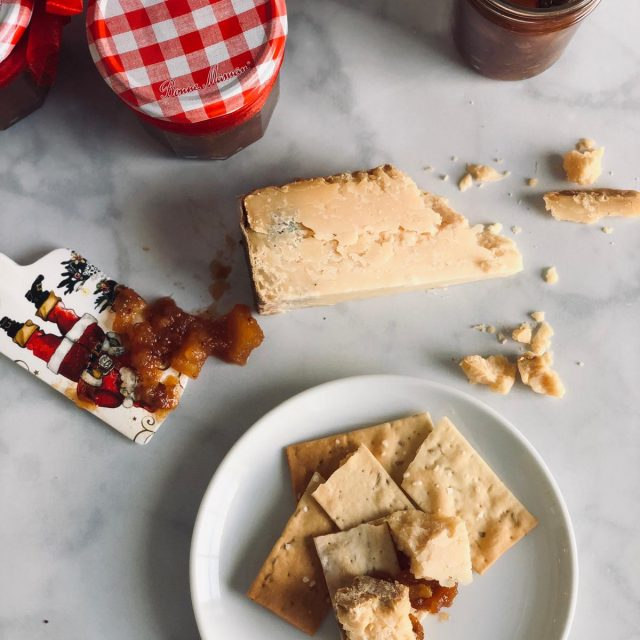 Apple & Pear Chutney from above, on cracker with cheese