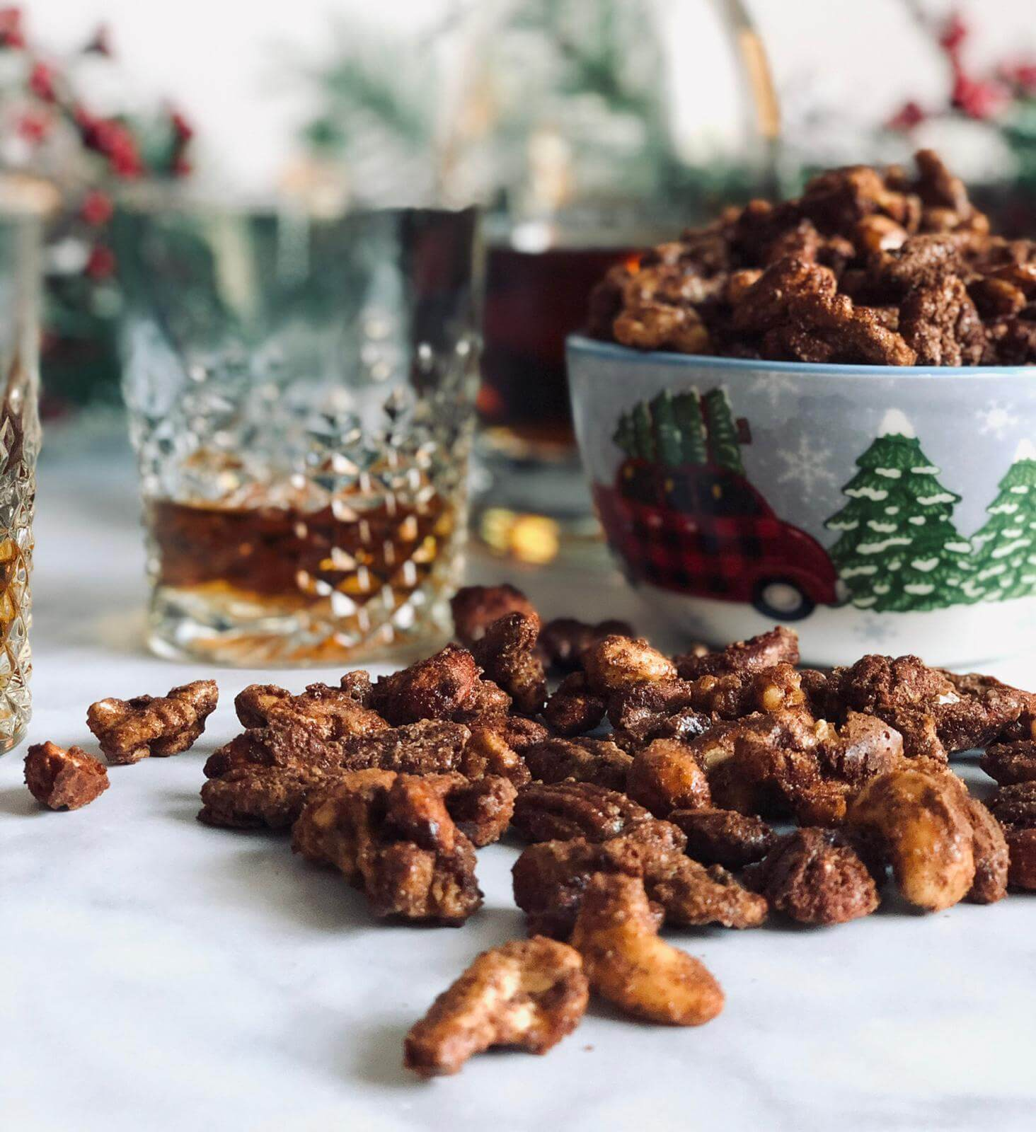 Spiced Nuts on table with glass