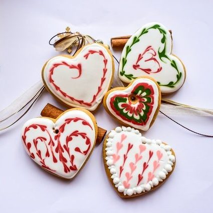 Heart-Shaped Christmas Cookie Ornaments