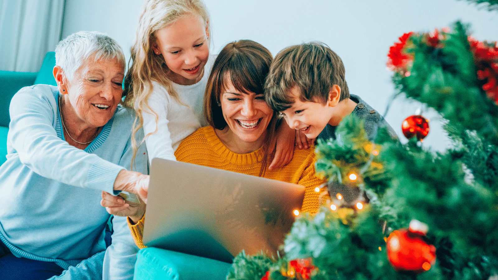 Family Zoom Christmas Games around the laptop