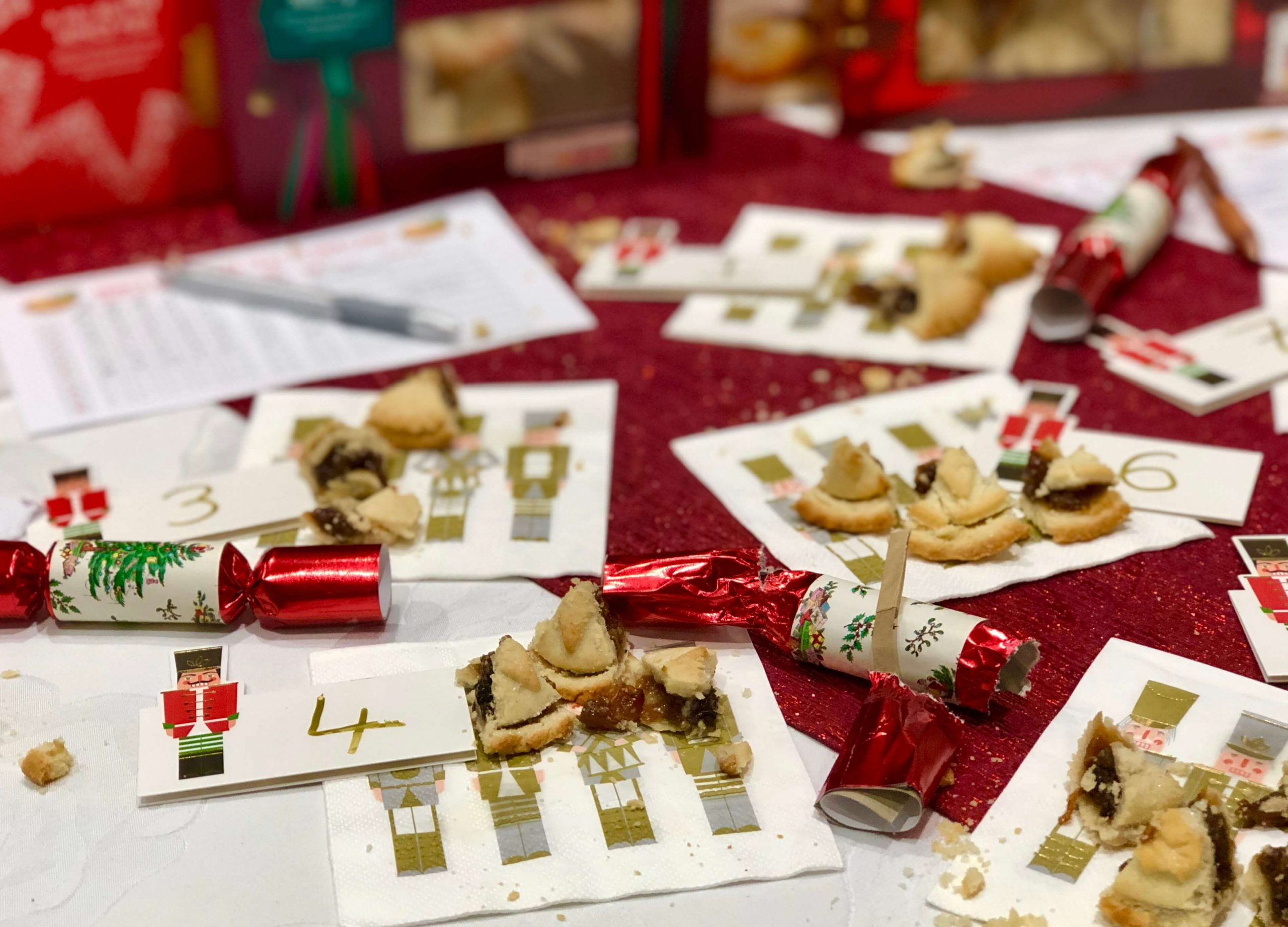 Mince Pie Taste Test Party Table Laid Out