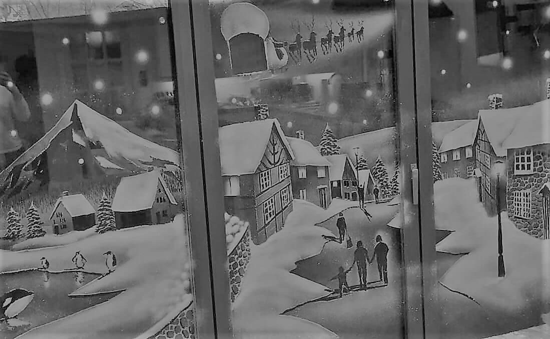 Village Window Snow Spray Scene with extra animal details