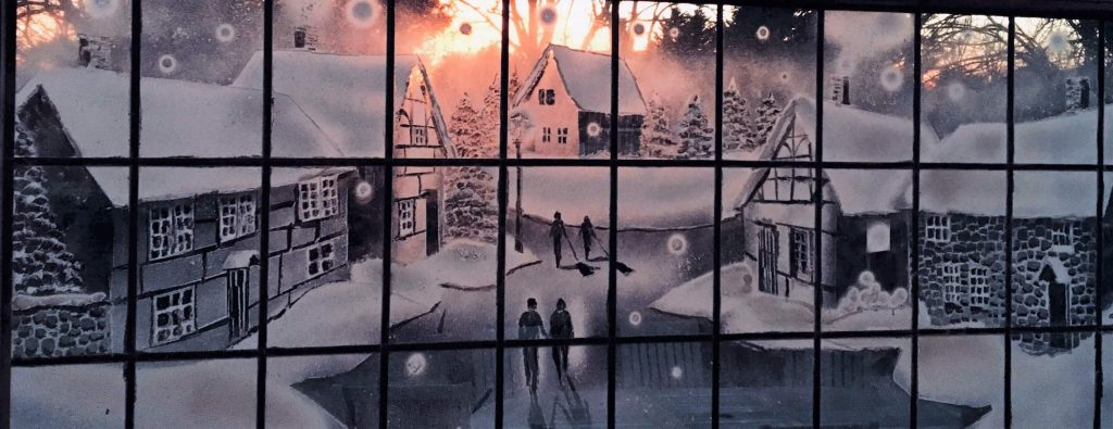 Snow Windows Village Scene