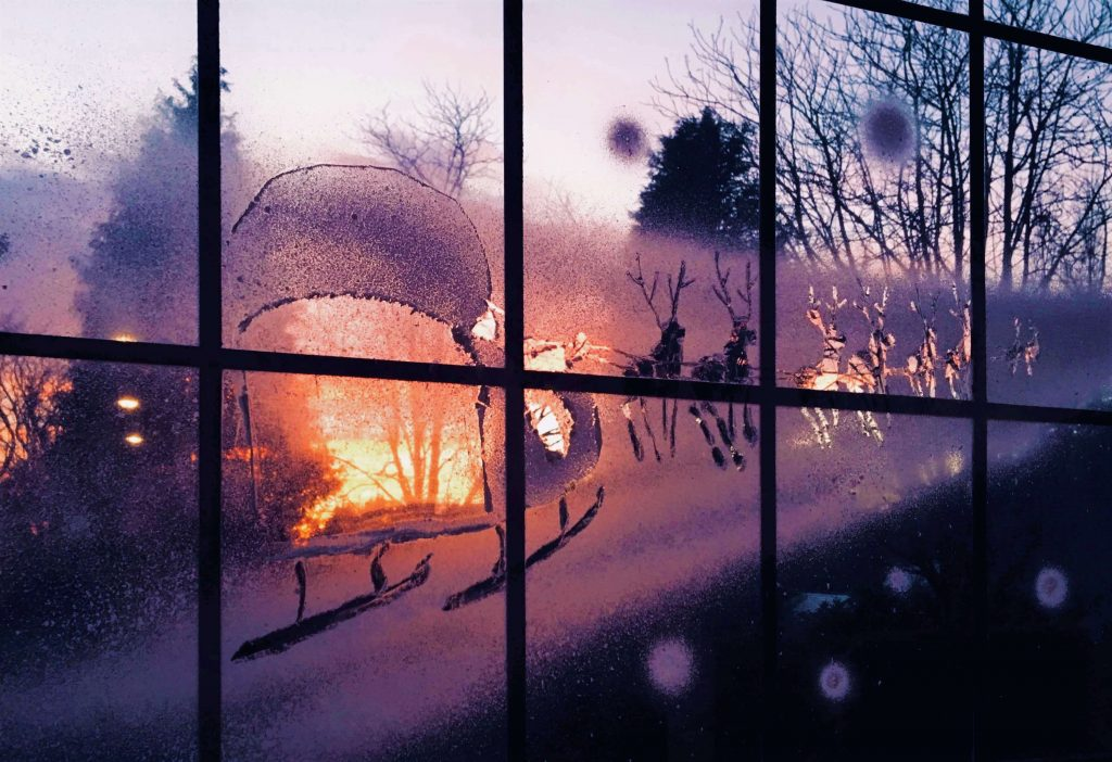 Snow Windows Santa's Sleigh at Sunset