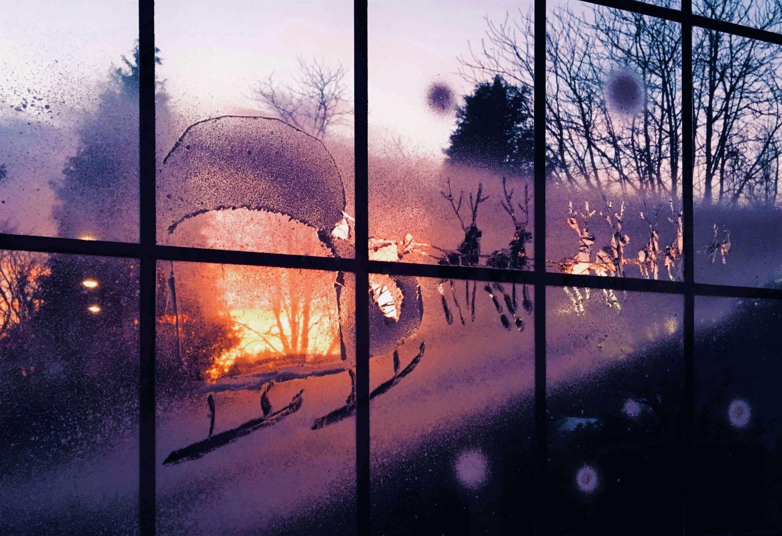 Snow Windows Santa's Sleigh at Sunset