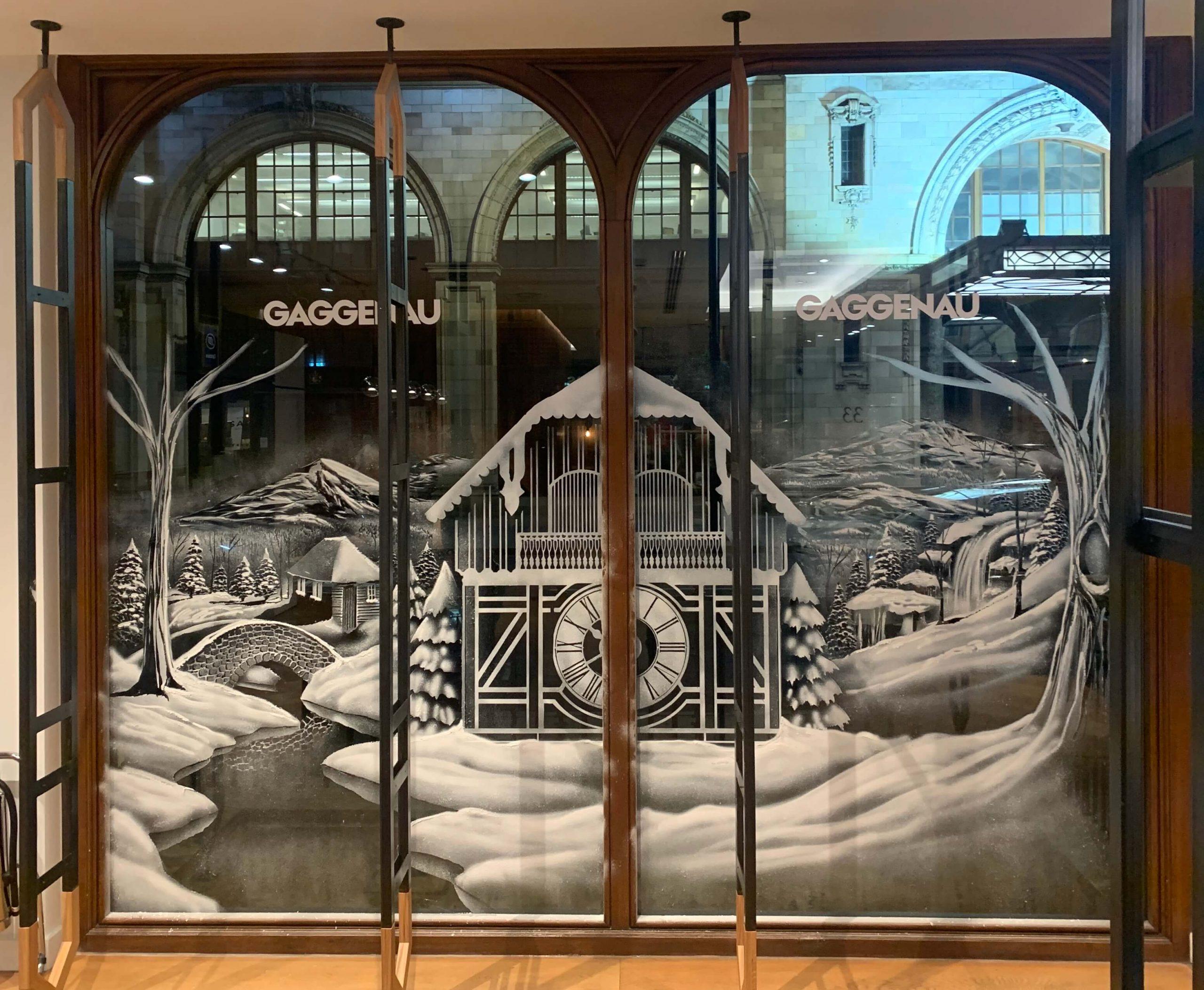 Snow Windows Window - Gaggenau Showroom Snow Scene with clockhouse