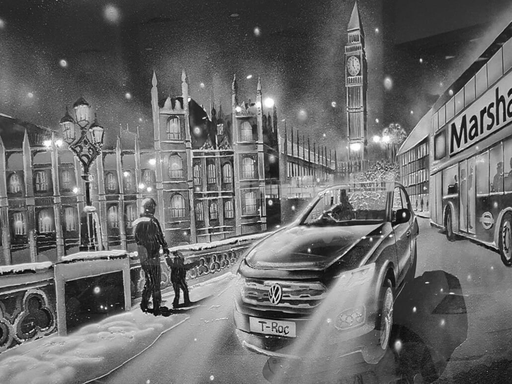 Snow Windows scene - Volkswagen at the Houses of Parliament