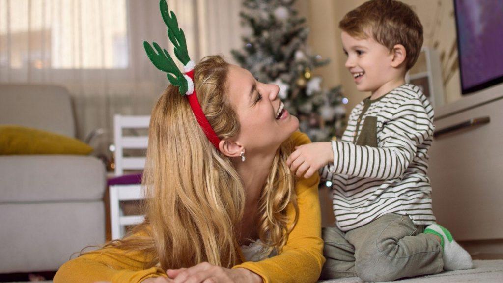 Mum & Son Playing at Christmas