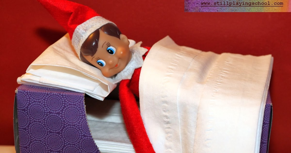 Elf On The Shelf in tissue box bed