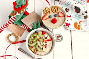 Christmas Porridge with Fruit Christmas Icons on the top