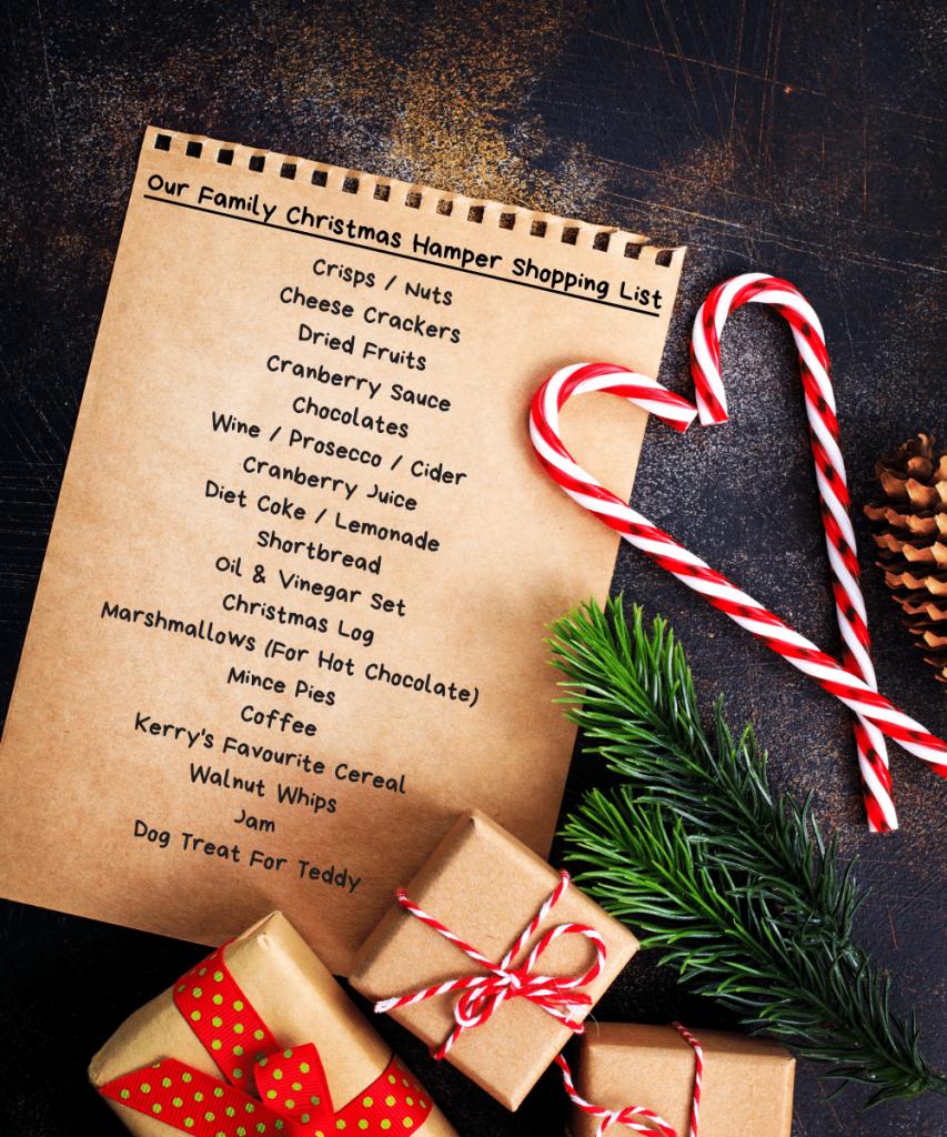 Family Christmas Hamper Shopping List