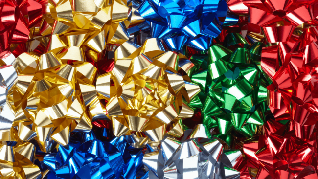Heap of Multi-Coloured Gift Bows