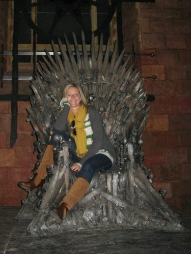 Pippa on the Iron Throne at Game of Thrones