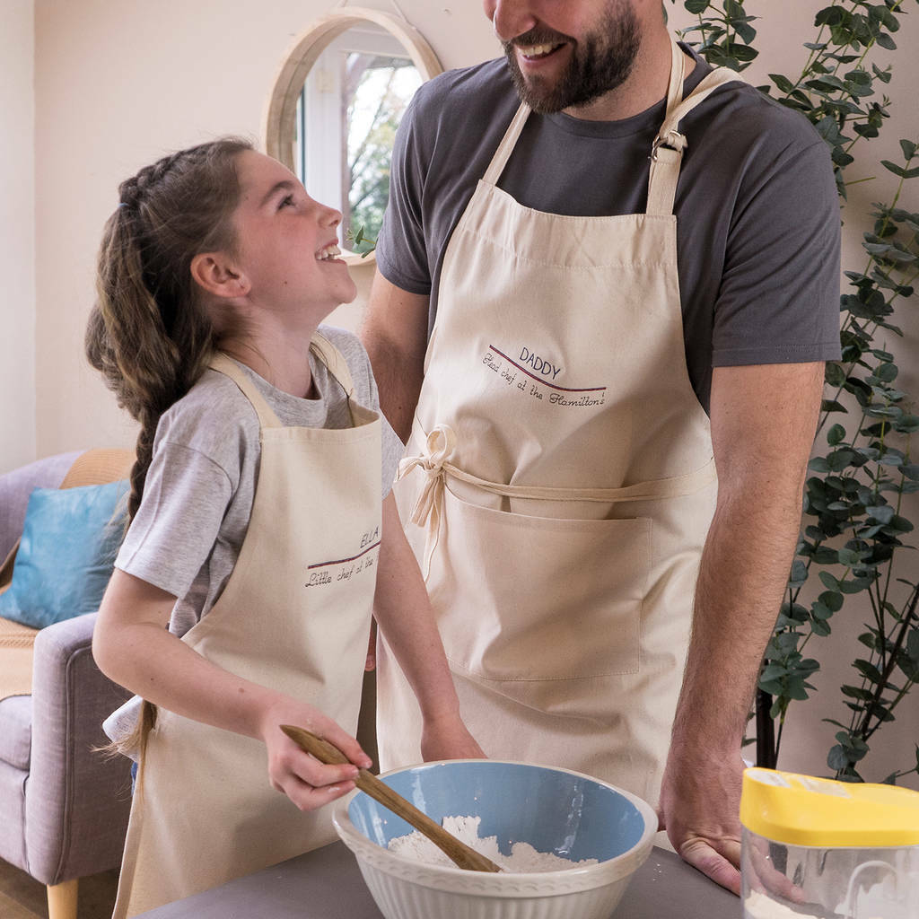 Sparks & Daughters Embroidered Daddy and Me Apron Set