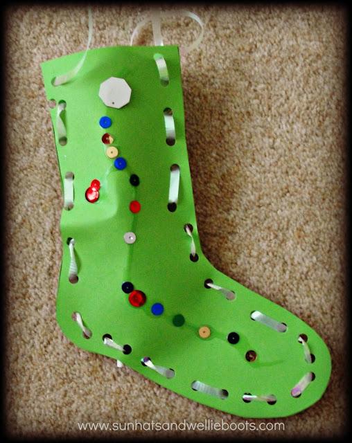 Sunhats & Wellie Boots Christmas Stockings Threading