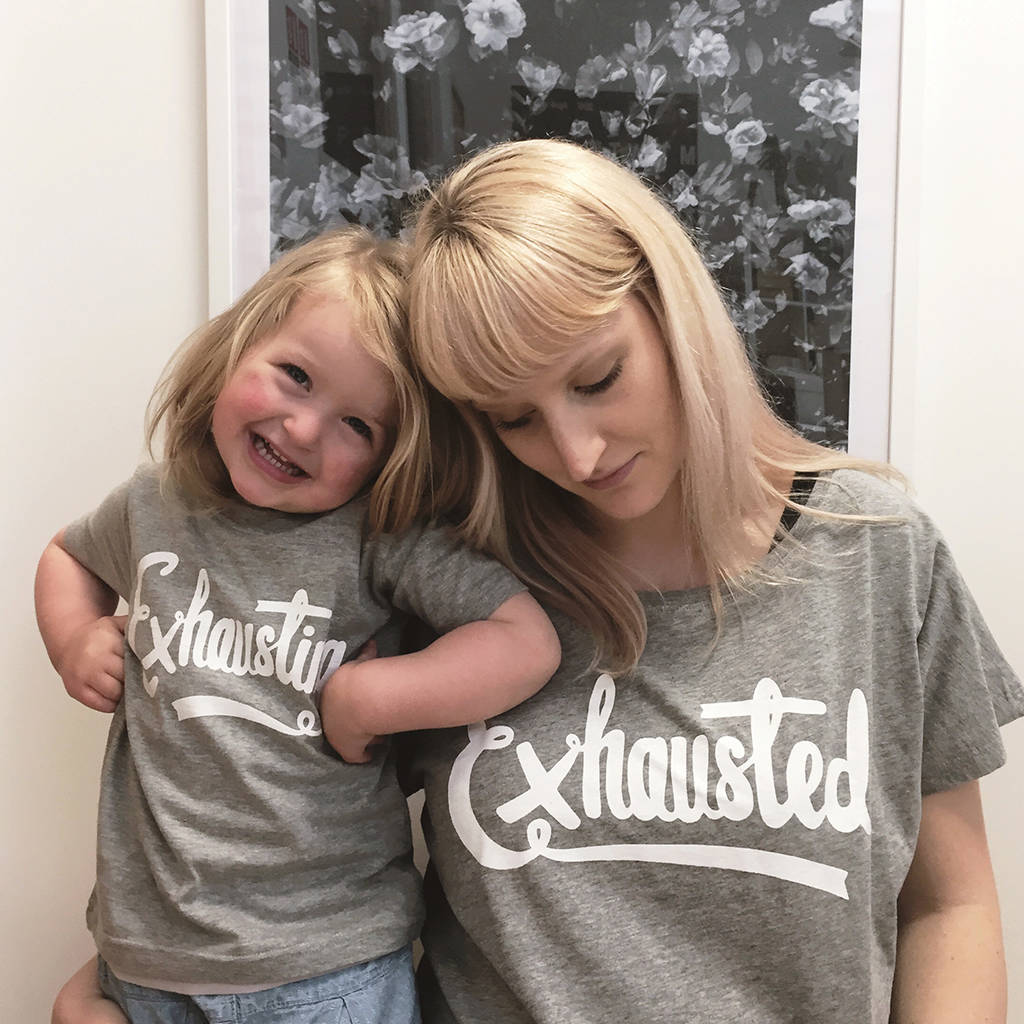 Type on Top Exhuasted Exhausting T-Shirt Set