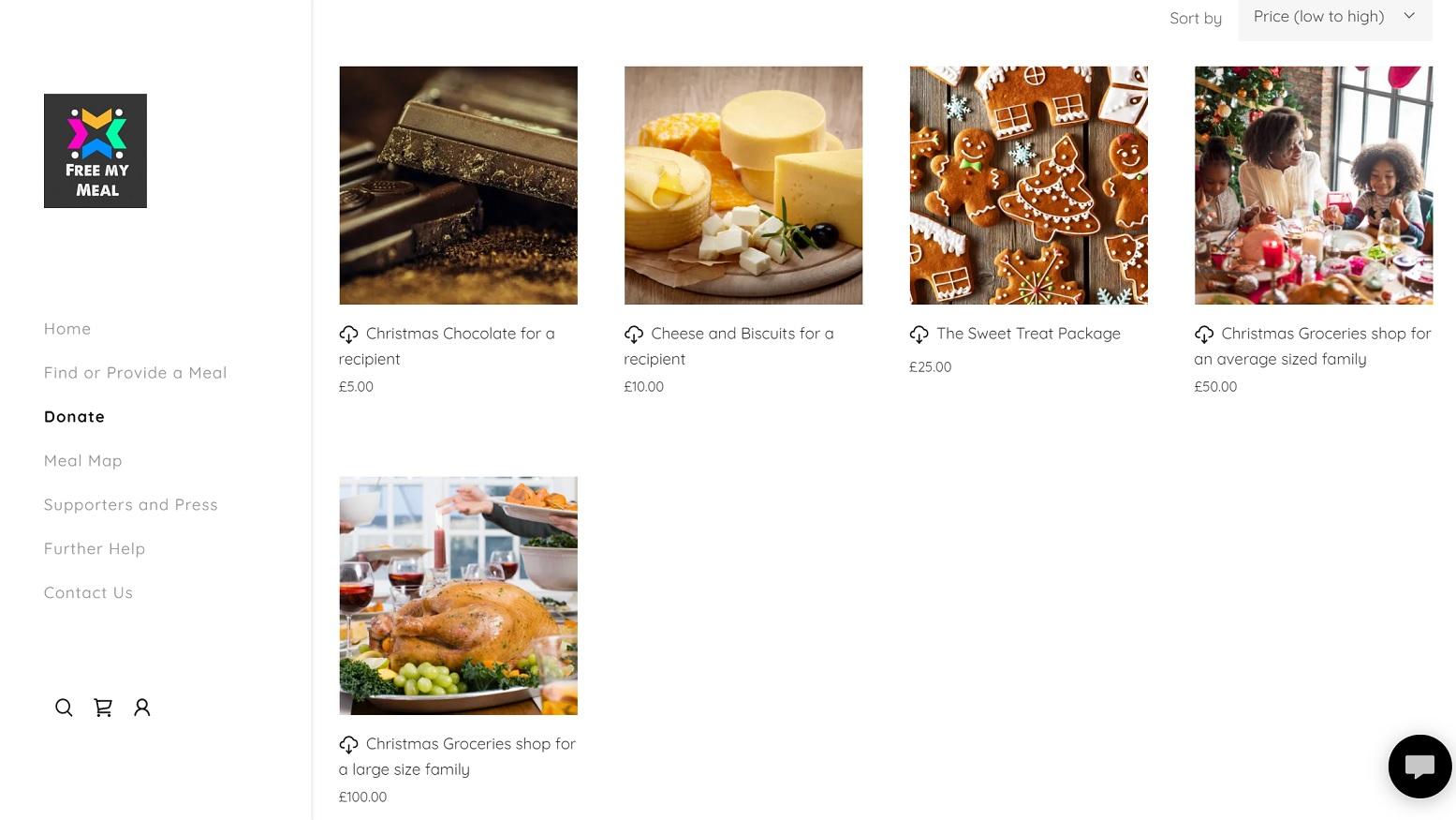Free My Meal Website Screenshot
