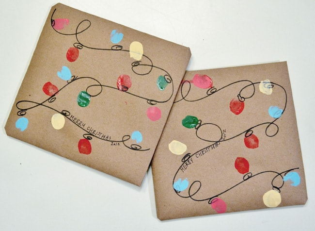 Burlap & Blue Holiday Lights Gift Wrap