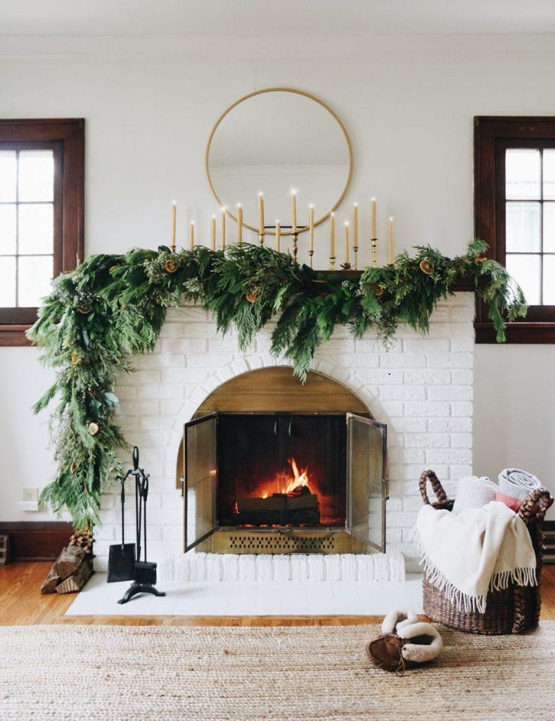 Asymmetrical Fireplace Garland