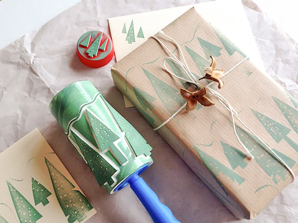 DIY Roller Printing - christmas tree stamp on lint roller and on brown wrapping paper