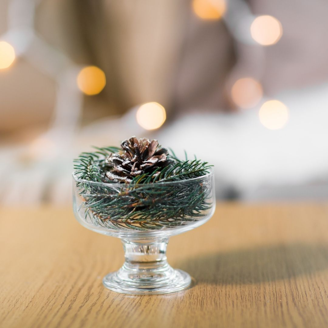 Pine Cone & Fir In a Small Glass Bowl
