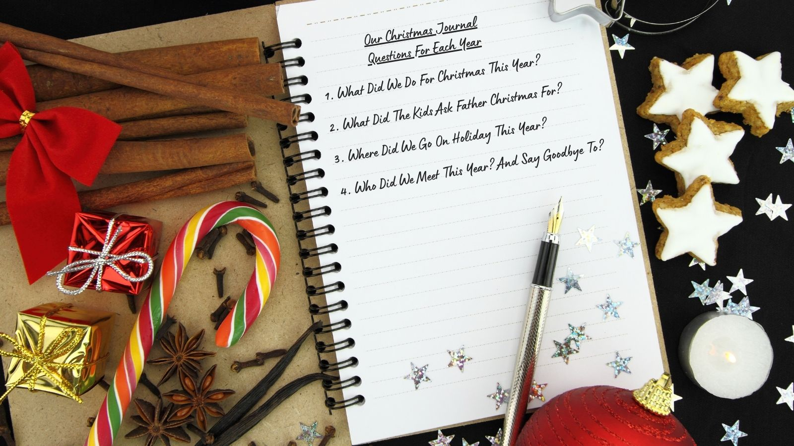 Journal Front Page with List of Christmas Questions