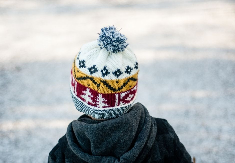 Child In Woolly Hat In Frost Outside