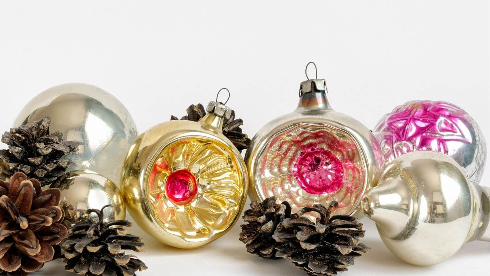 Selection of vintage indented glass baubles