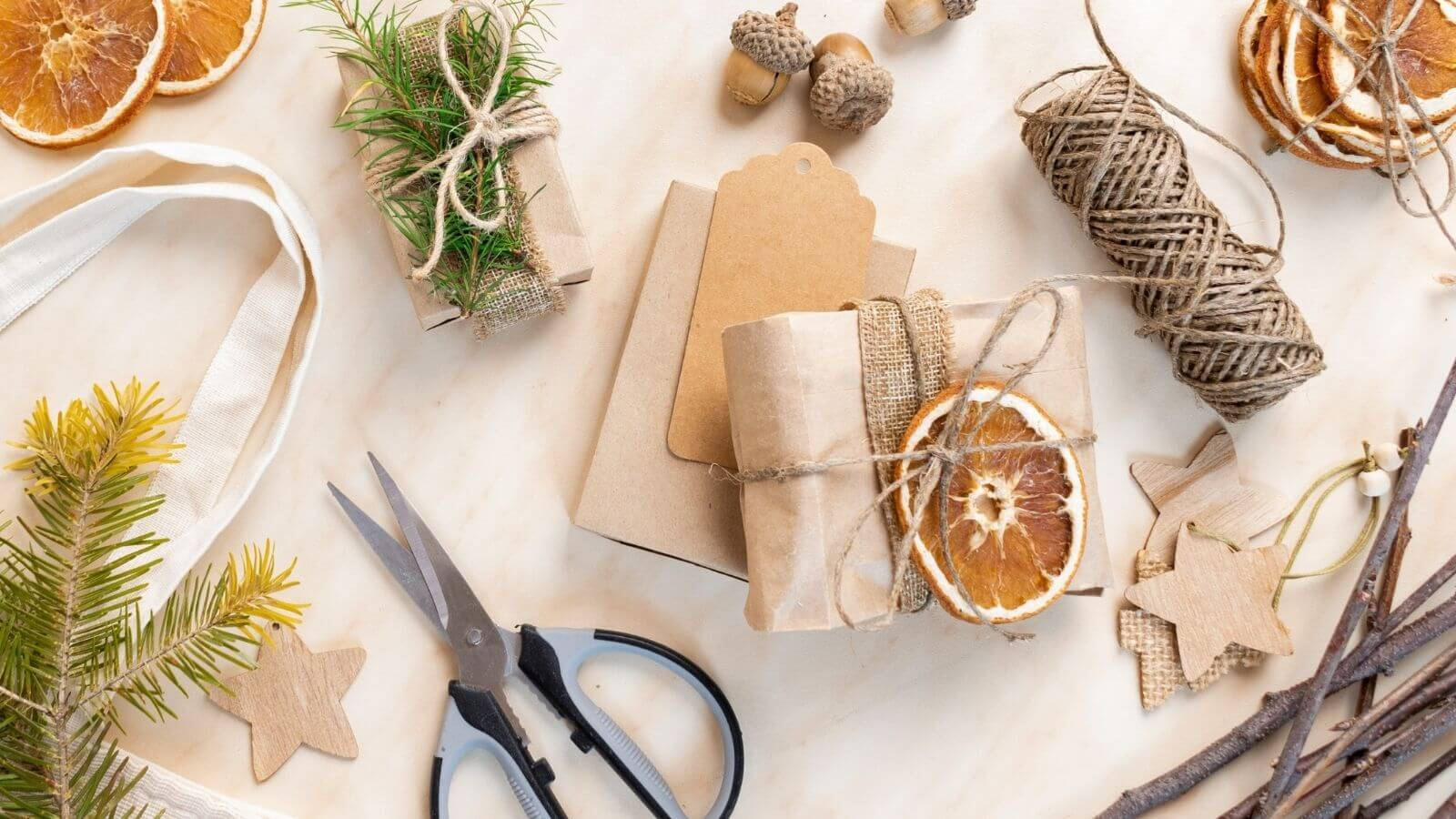 Selection of natural wrapping materials and wrapped gift