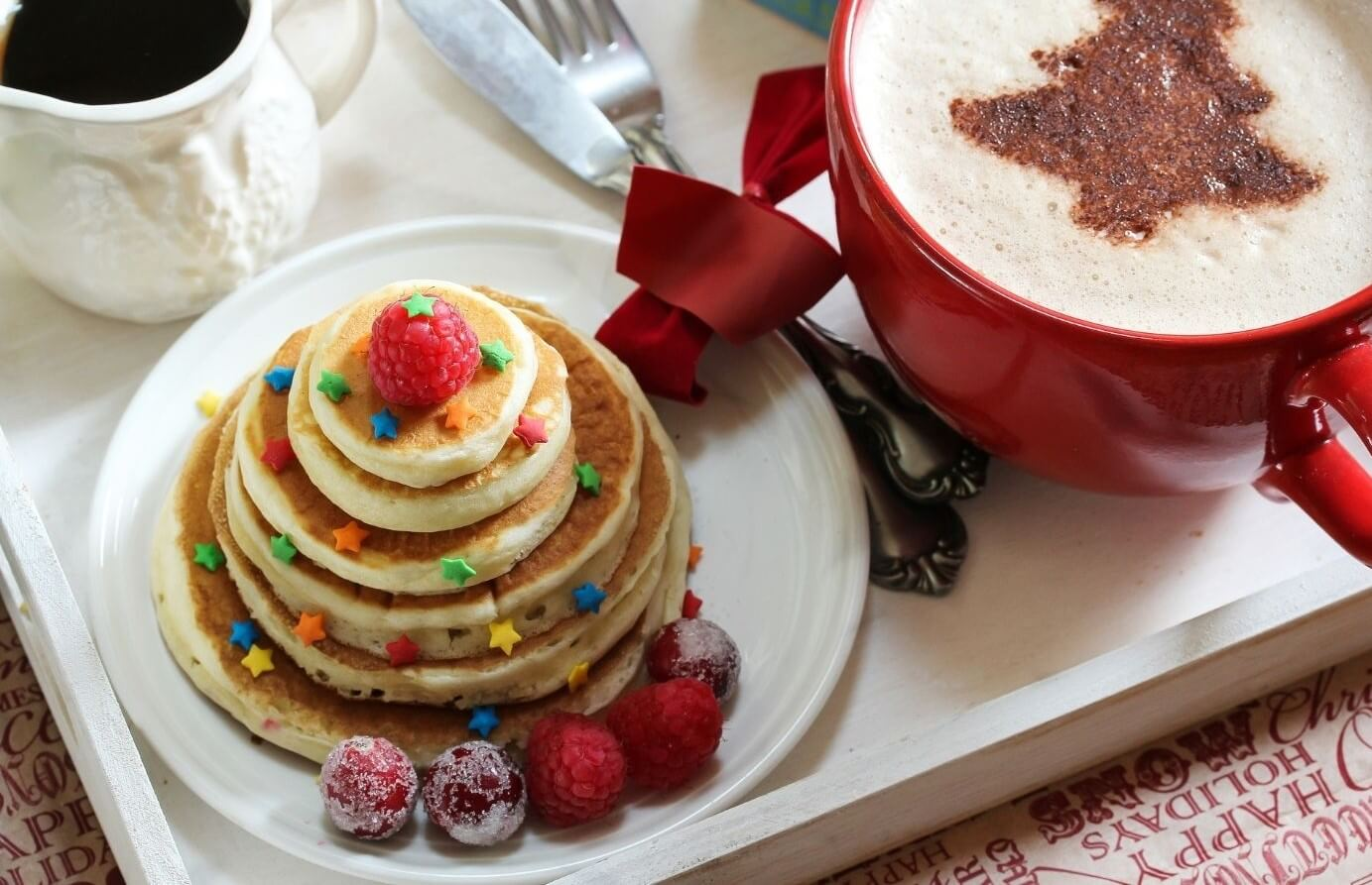 Tray with Pancakes & Coffee With Cocoa Christmas Tree on top