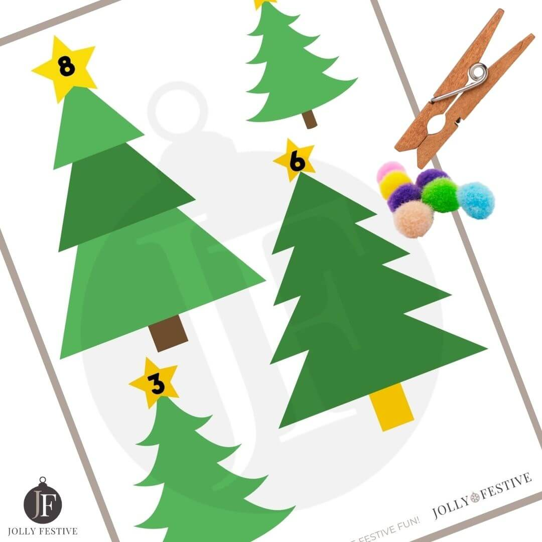 Clothes Peg Christmas Tree Ornament Counting Sheets