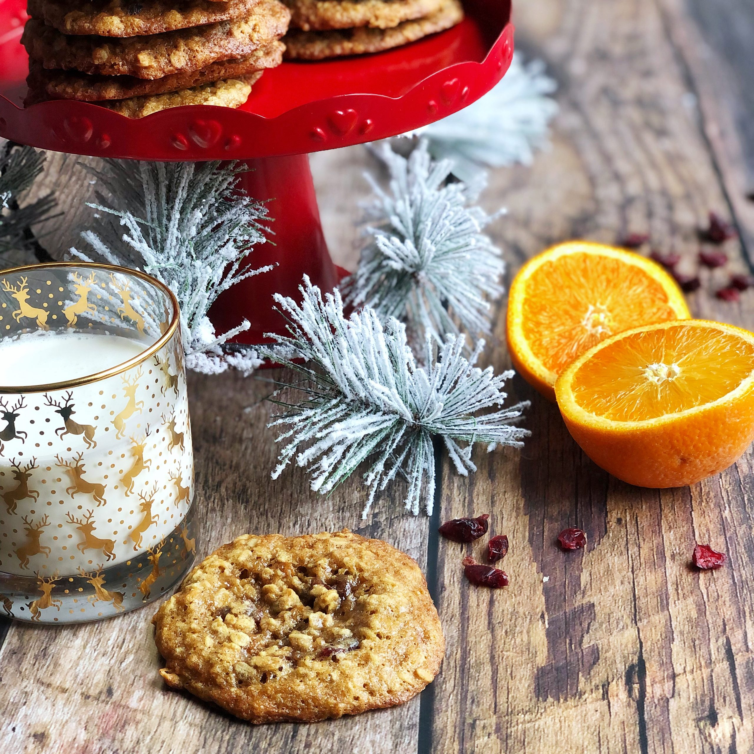 Oatmeal, Cranberry & Orange Cookies with Milk