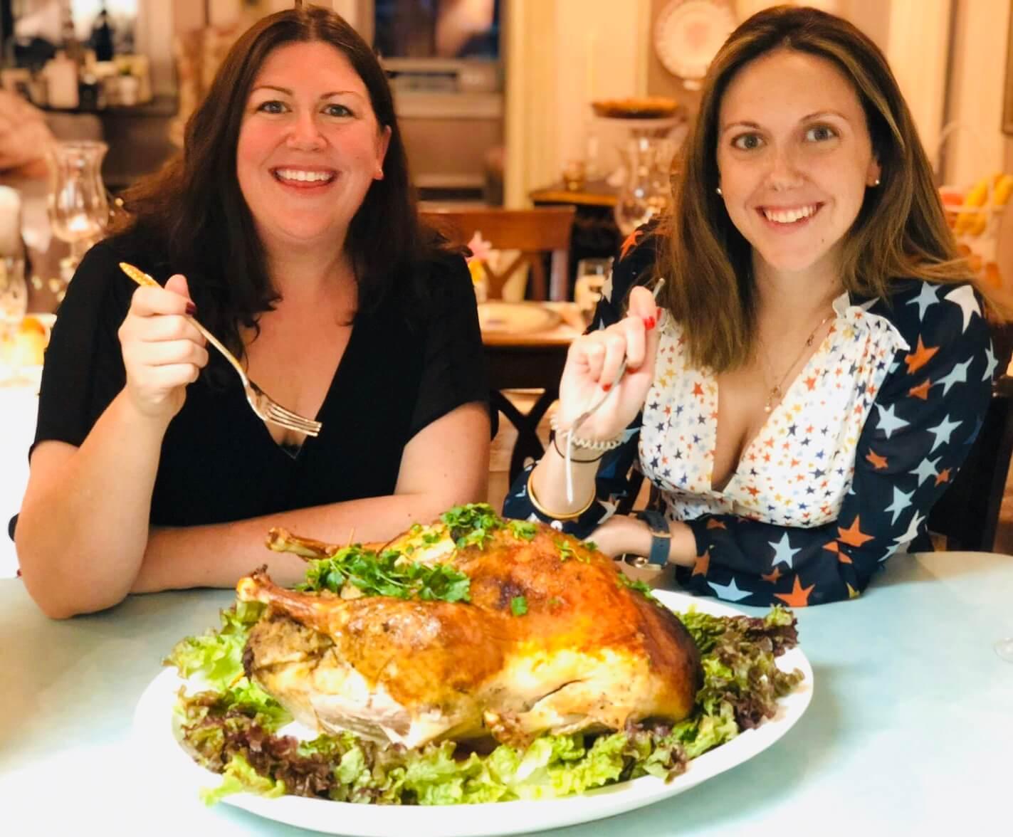 Hannah & Jo with the turkey
