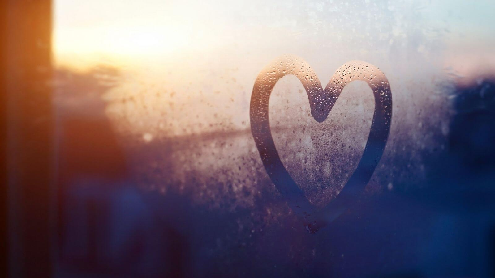 Kindness Heart Drawn On Window in Condensation