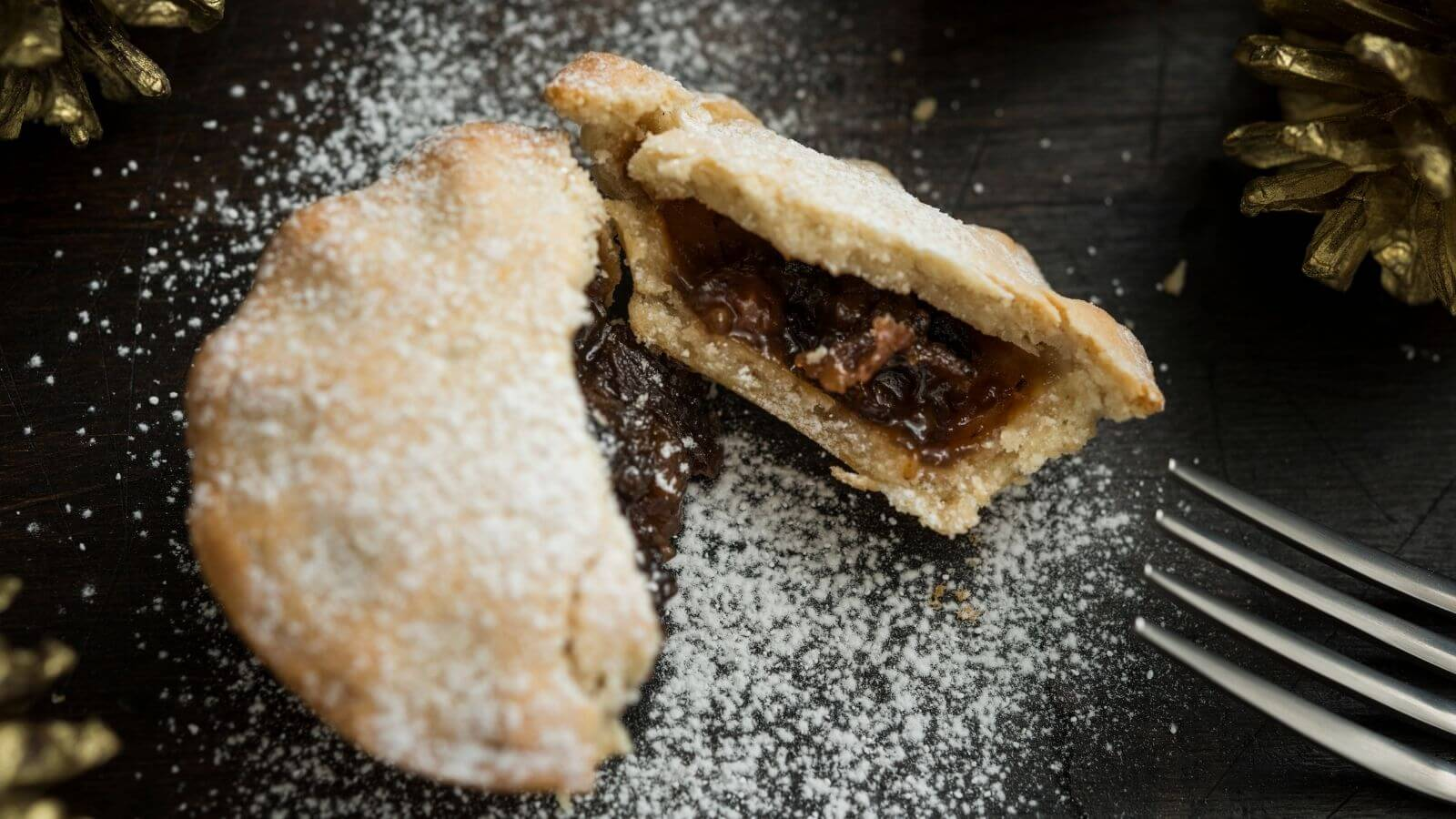Mince Pie In Half With Fork