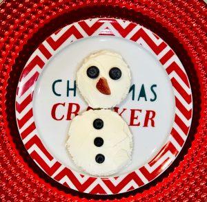 Cream Cheese Snowman on Plate