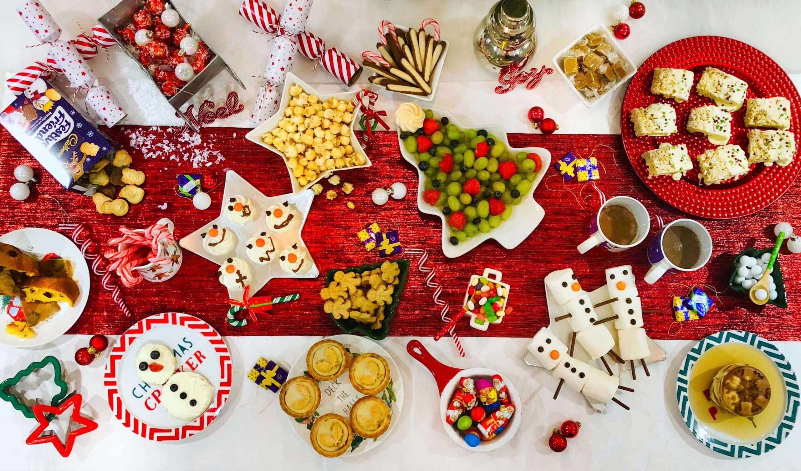 Overhead shot of the table for a North Pole Breakfast