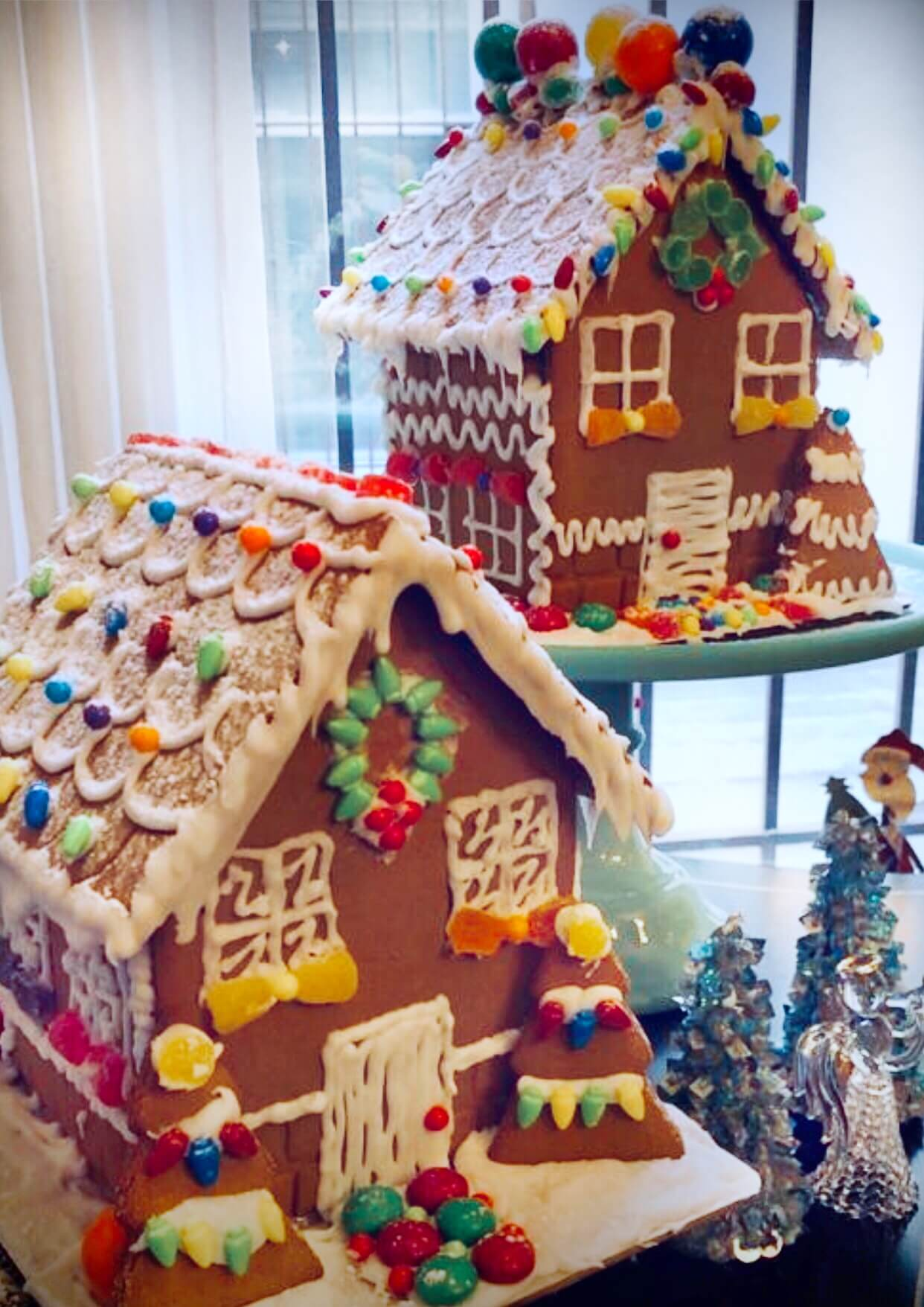 Pair of Gingerbread Houses on Cake Stands