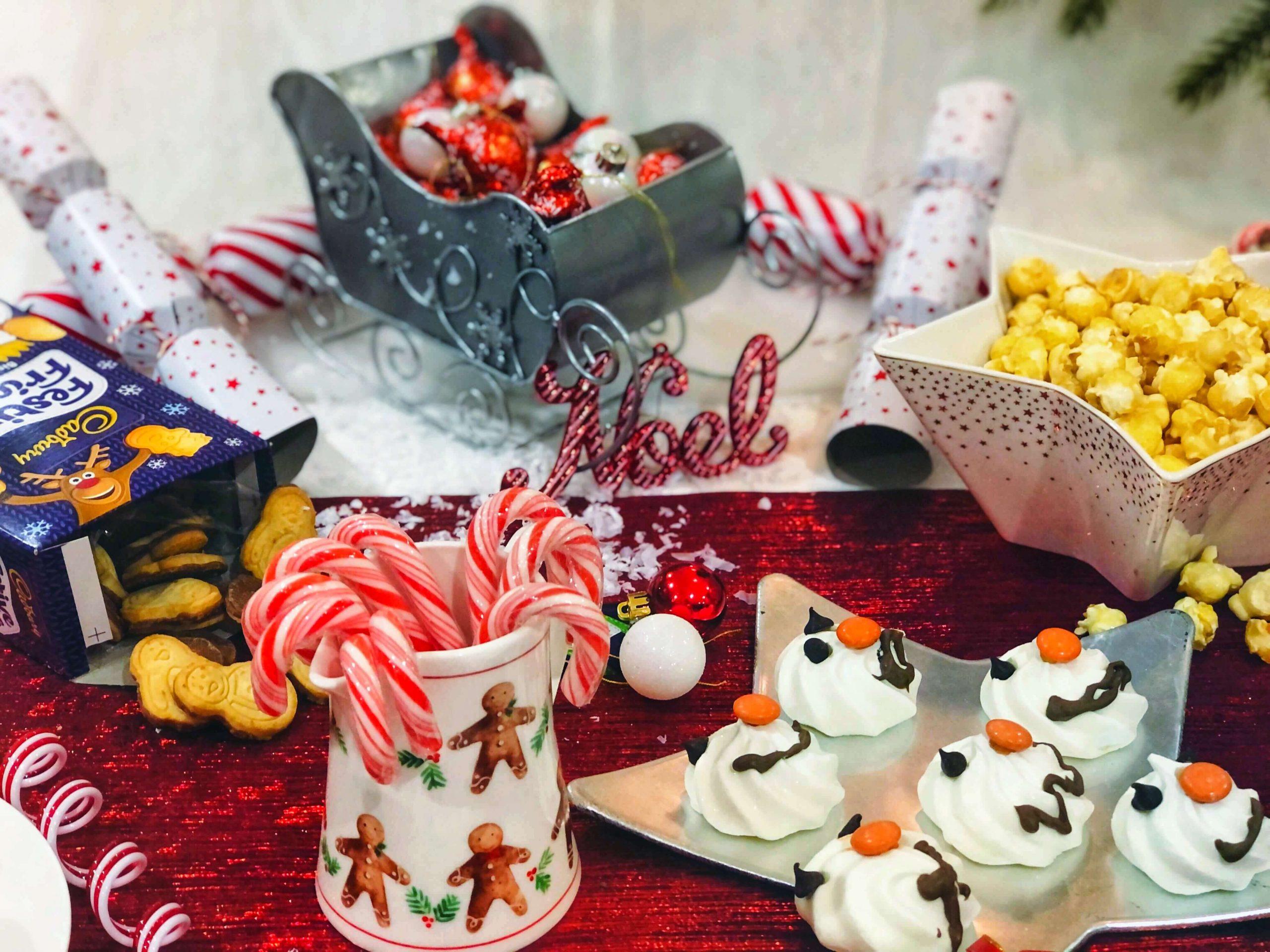 North Pole Breakfast Ideas - candy canes, snowman meringue faces, Cadbury Festive Faces, etc