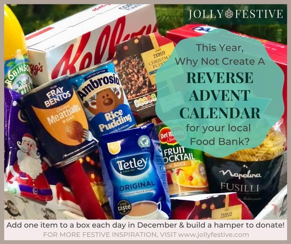 Reverse Advent Calendar Food Bank Box Full Of Donations