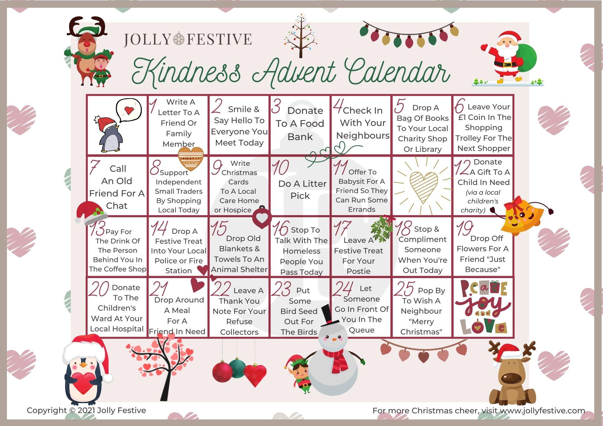 25 Days of Activities Kindness Advent Calendar