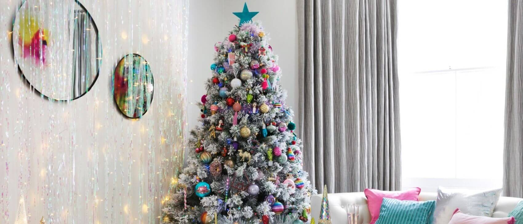 Amara Flocked Christmas Tree Professionally Decorated with Disco Bright Colours