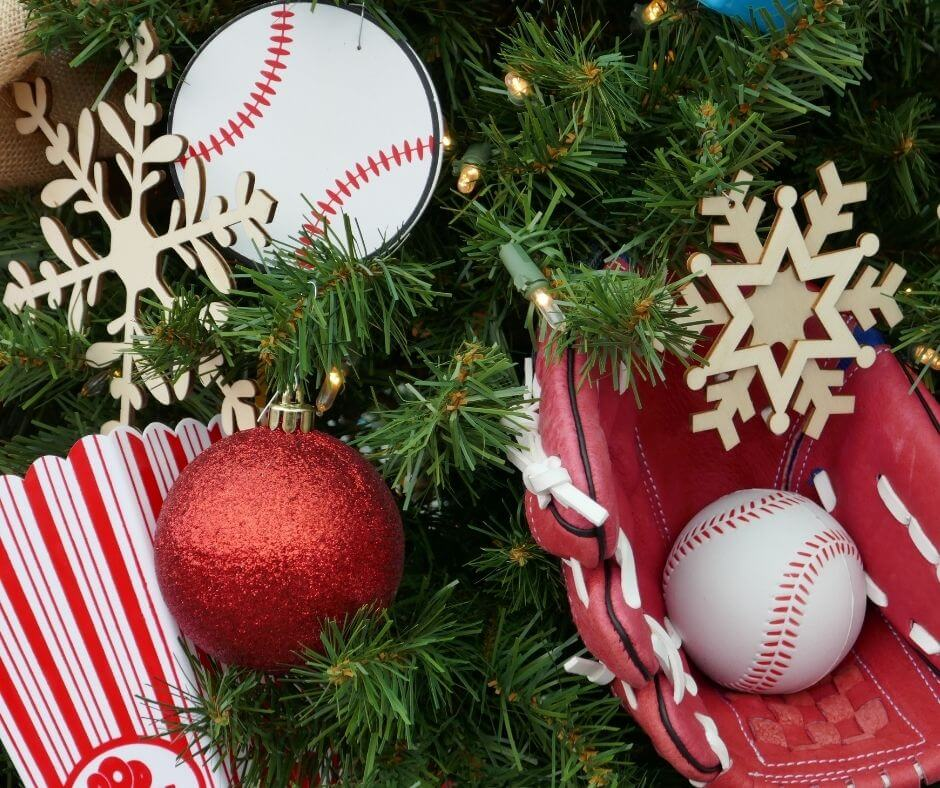 Baseball Glove & Ball in Tree with other traditional ornaments