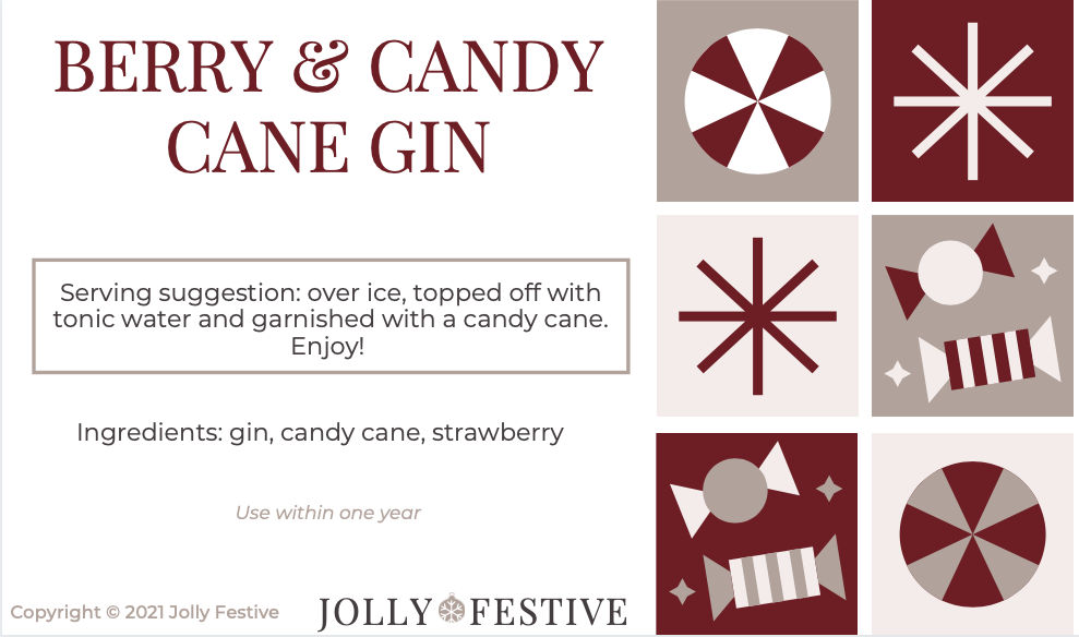 Berry & Candy Cane Gin Label