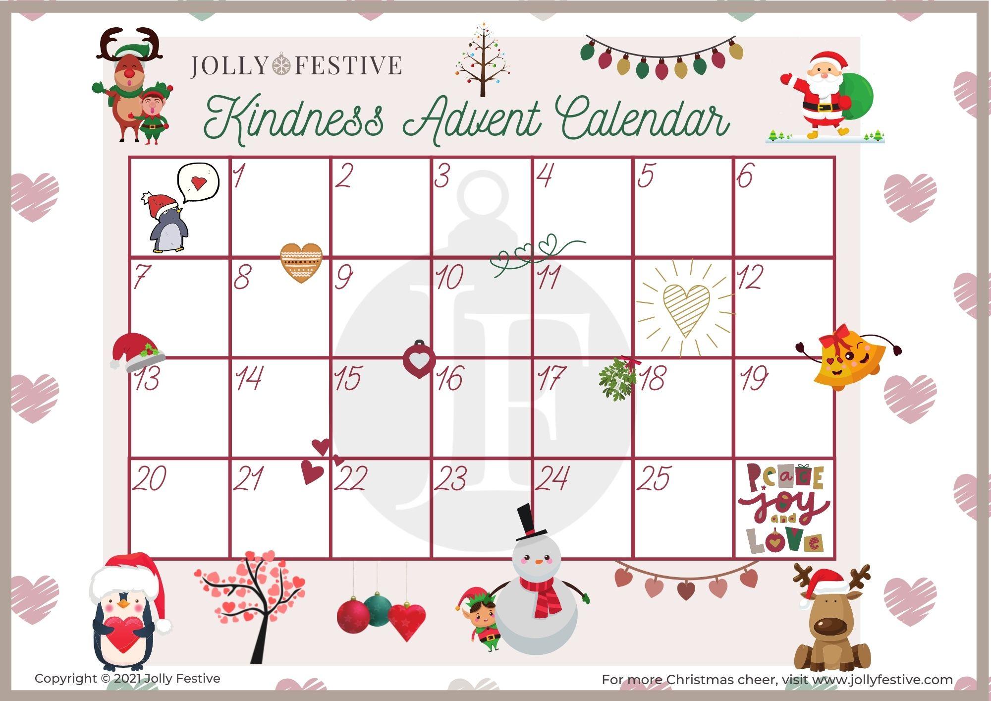 Kindness Advent Calendar Blank Template