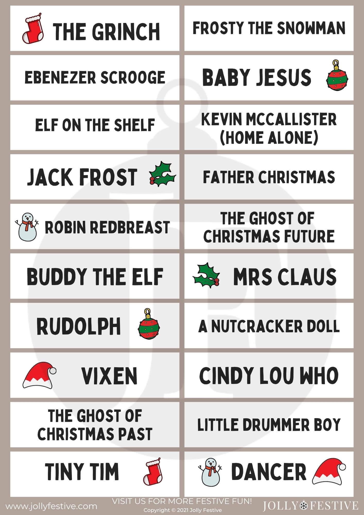 Christmas Charades A4 Printable