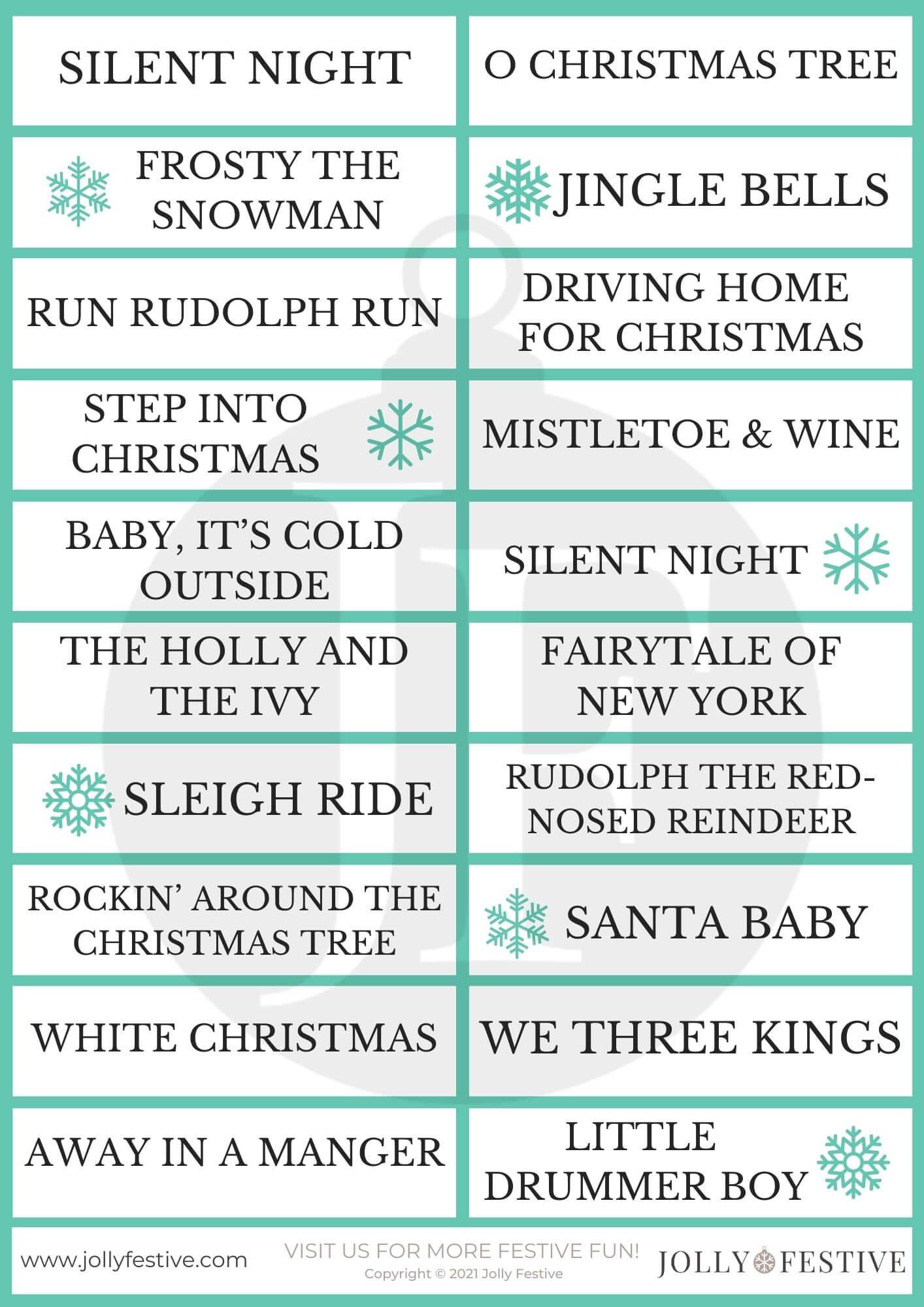 Christmas Songs Pictionary A4 Printable